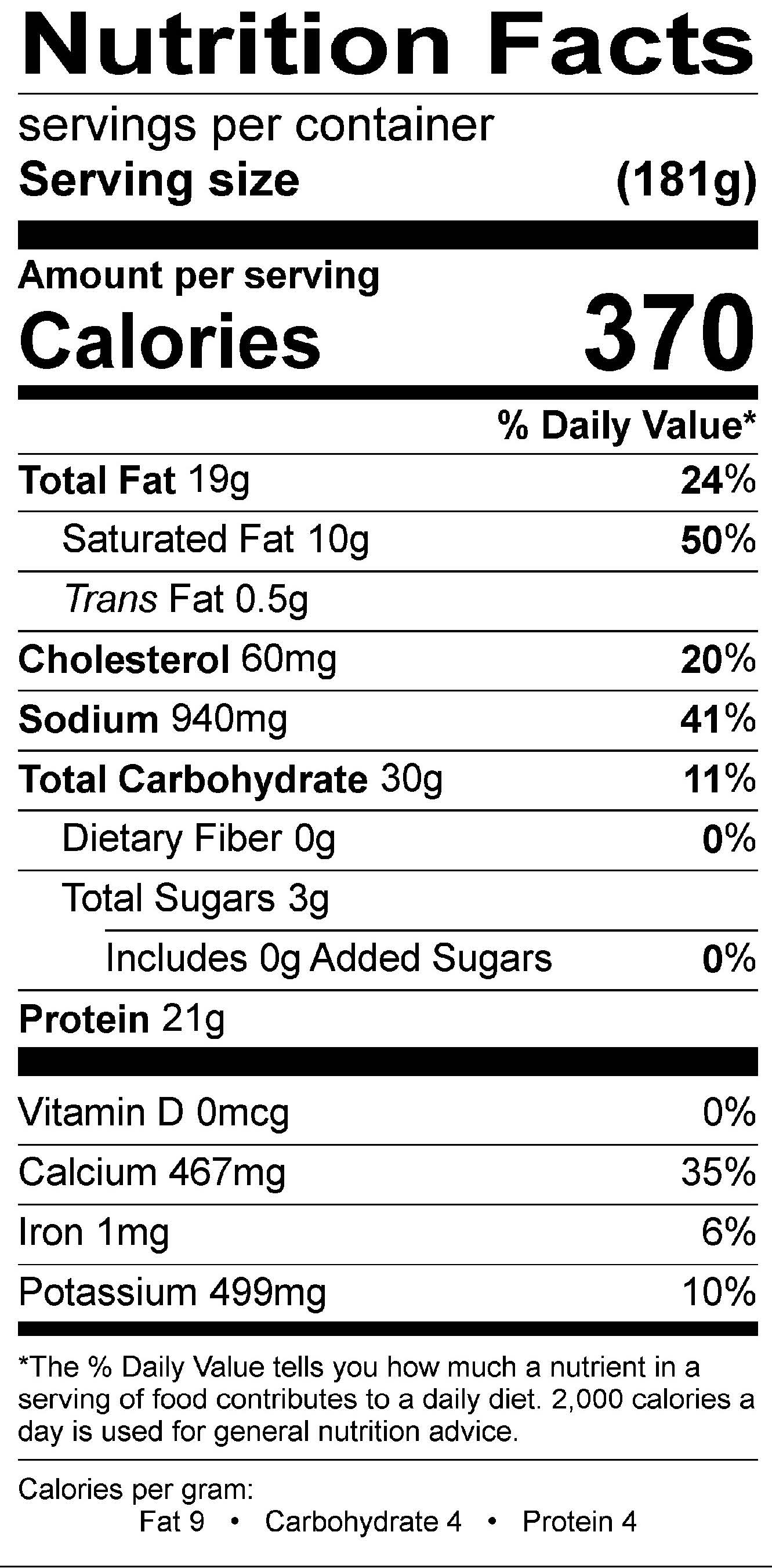 Three Cheese Cavatappi Nutrition Label
