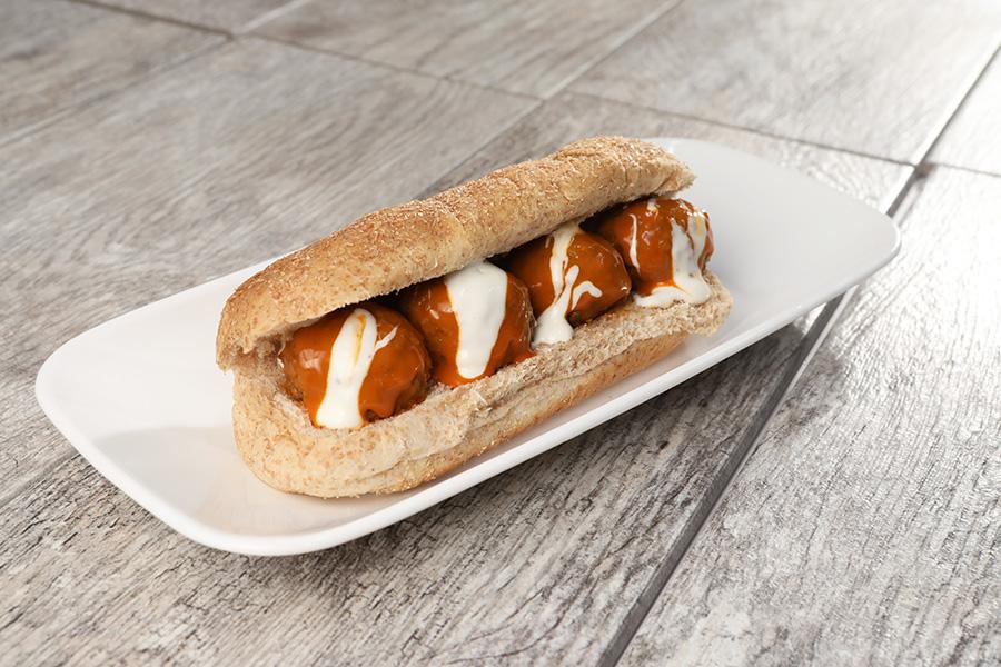 Buffalo Style Meatball Sub Sandwich